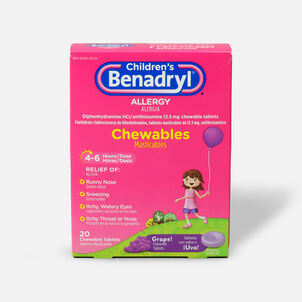 Children's Benadryl Chewable Tablets, Grape Flavored, 20 ct