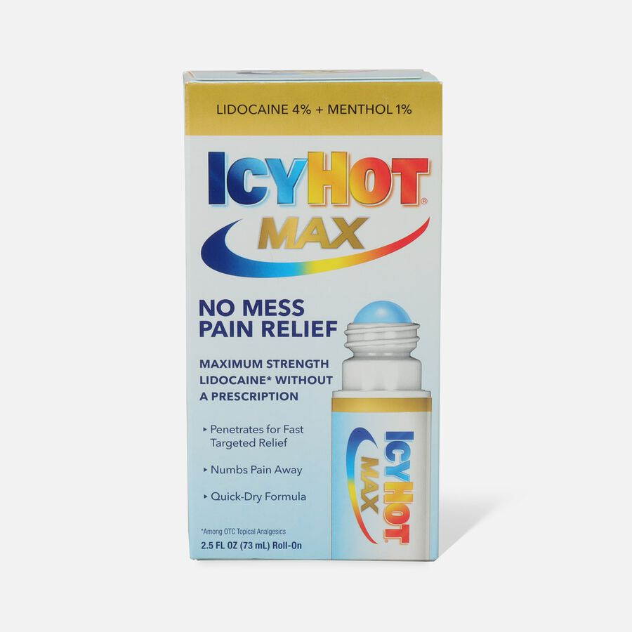 Icy Hot Max With Lidocaine + Menthol, Roll-On, 2.5 oz, , large image number 0