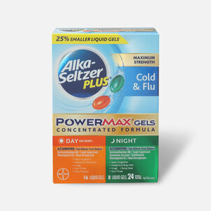 Alka-Seltzer Plus PowerMax Gels, Cold & Flu, Day & Night, 24ct