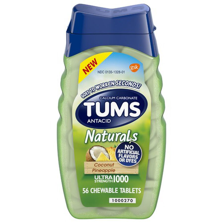 TUMS Naturals Ultra Strength Chewable Tablets, 56 ct, , large image number 0