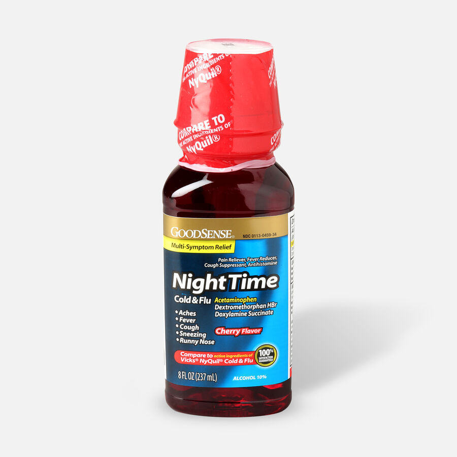 GoodSense® NightTime Cold and Flu Relief, Cherry Flavor, 8 fl oz, , large image number 0