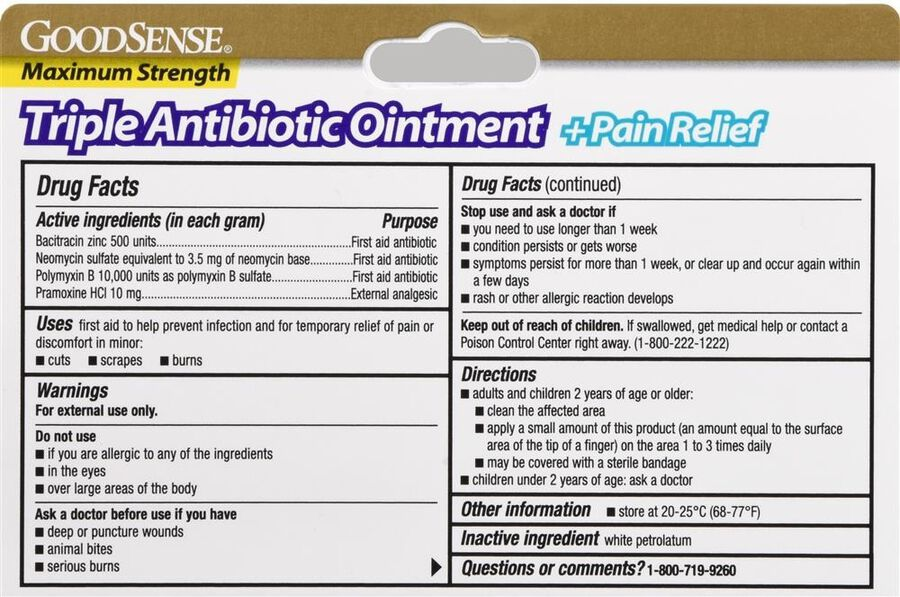 GoodSense® Max Strength Triple Antibiotic Ointment+ Pain Relief, 1 oz, , large image number 1