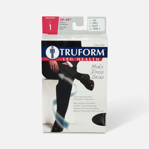 Truform Men's Dress Knee High Support Sock, 30-40 mmHg, Closed Toe, Black, Small