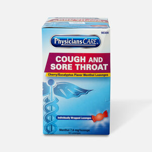 PhysiciansCare Cherry Flavor Cough and Throat Lozenges, 50/Box