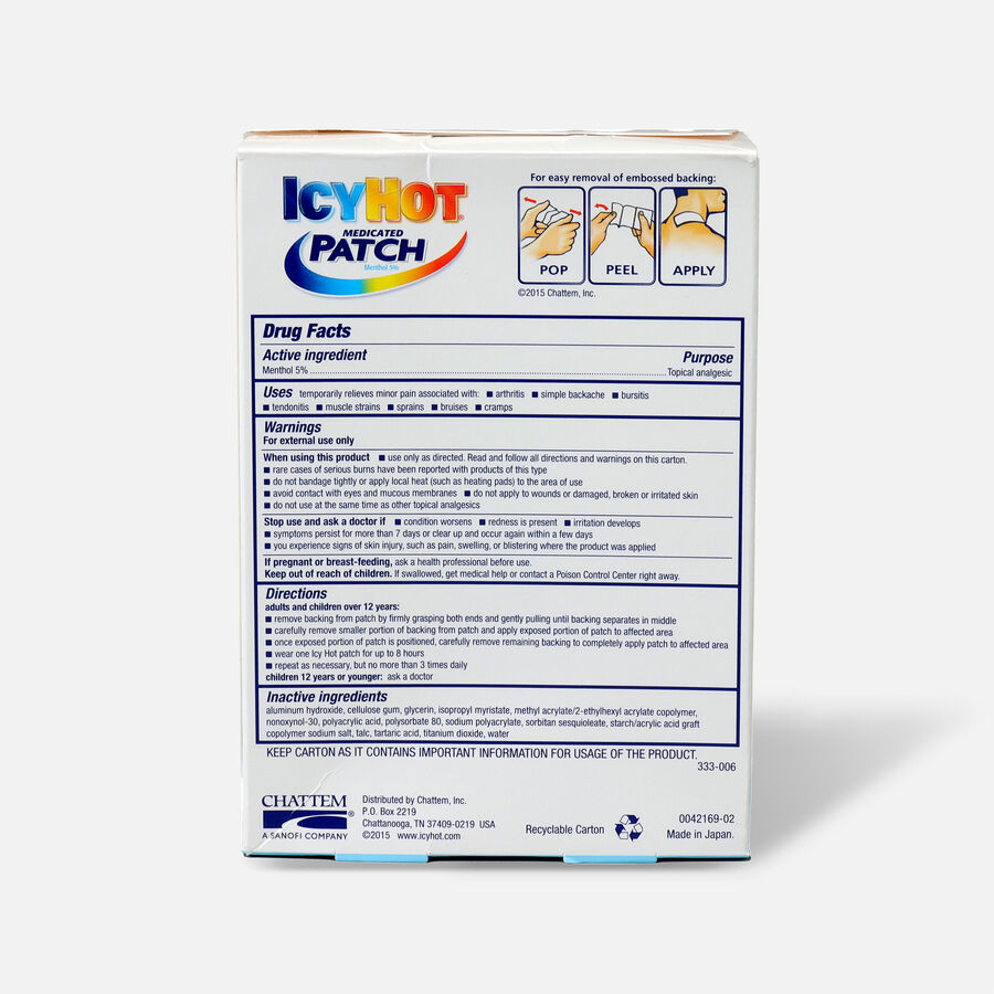 Icy Hot Extra Arms Neck Leg Patch, 5 ea, , large image number 1