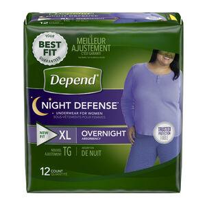 "Depend Women's Night Defense, X-Large, 45""-64"", 12 ea"