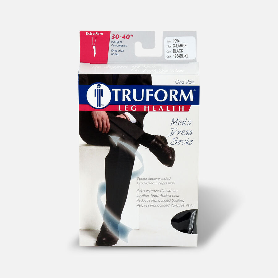 Truform Men's Dress Knee High Support Sock, 30-40 mmHg, Closed Toe, , large image number 6