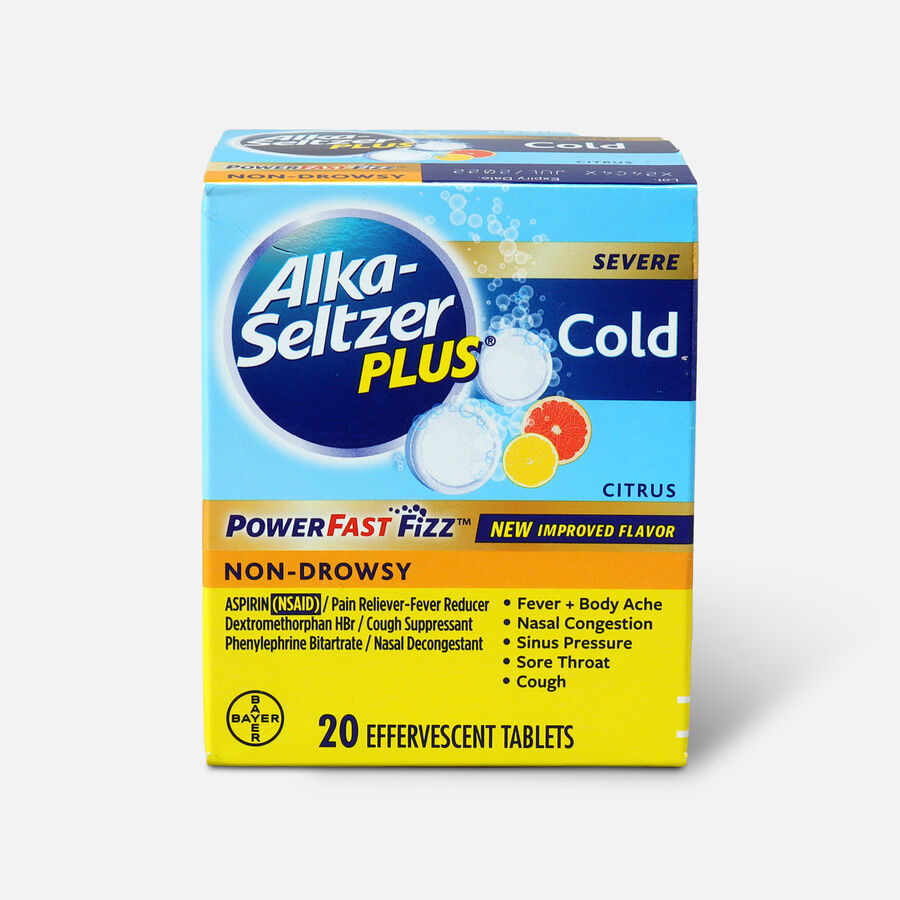 Alka-Seltzer Plus Severe Cold Powerfast Fizz Effervescent Tablets, Citrus, 20 Count, , large image number 0