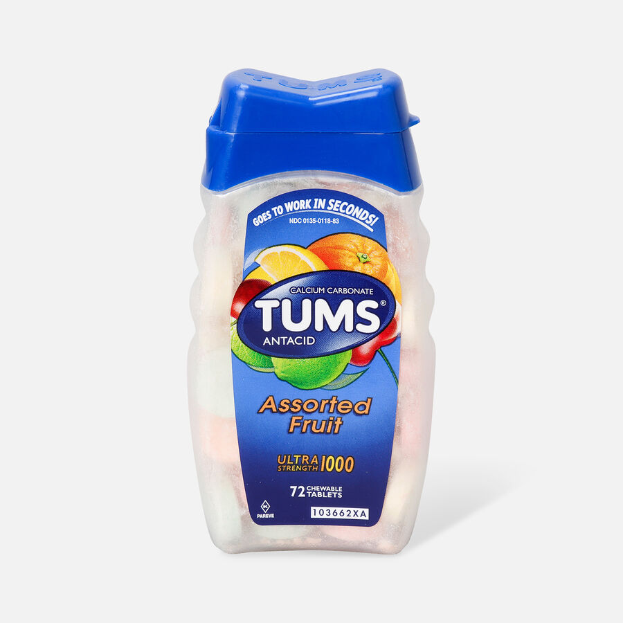 TUMS Ultra Strength Assorted Fruit Antacid Chewable Tablets for Heartburn Relief, 72 ct, , large image number 0