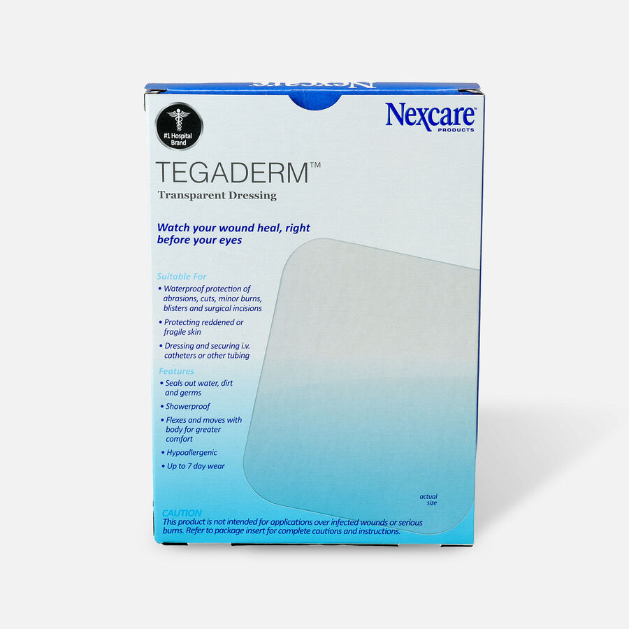 Nexcare Tegaderm Transparent Dressing, 4 in. x 4 3/4 in. , 4 ea, , large image number 1